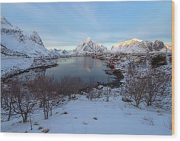 Wood Print featuring the photograph End Of Day, Reine, Lofoten,  by Dubi Roman