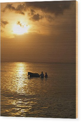 End Of The Day Wood Print by Linda Morland