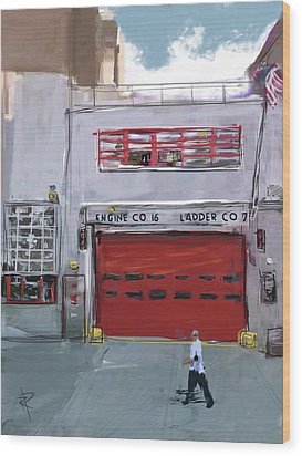 Engine Co. 16 Wood Print by Russell Pierce