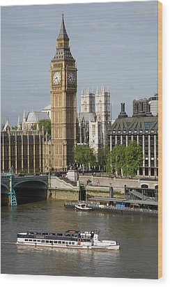 England, London, Big Ben And Thames River Wood Print by Jerry Driendl