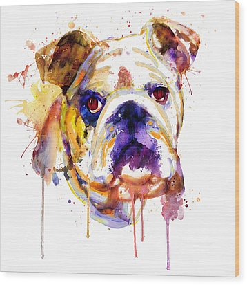 Wood Print featuring the mixed media English Bulldog Head by Marian Voicu
