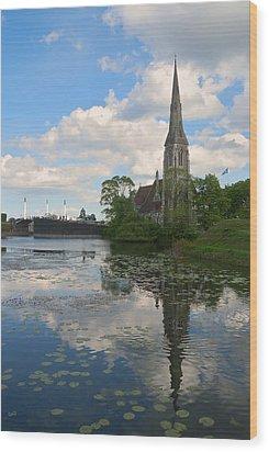 Wood Print featuring the photograph English Church In Copenhagen by Steven Richman