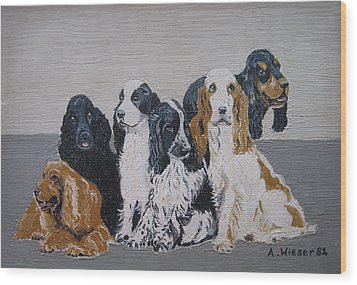 English Cocker Spaniel Family Wood Print by Antje Wieser
