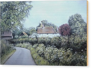 Wood Print featuring the painting English Country Lane by Rosemary Colyer