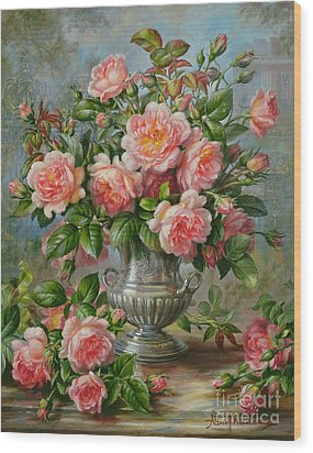 English Elegance Roses In A Silver Vase Wood Print by Albert Williams