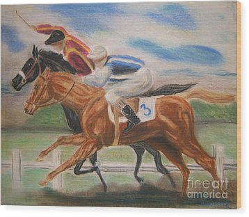 English Horse Race Wood Print by Nancy Rucker