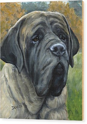 English Mastiff Black Face Wood Print by Dottie Dracos