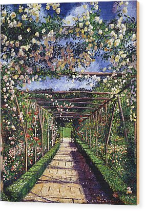 English Rose Trellis Wood Print by David Lloyd Glover