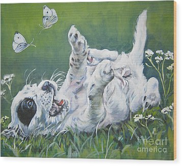 English Setter Puppy And Butterflies Wood Print