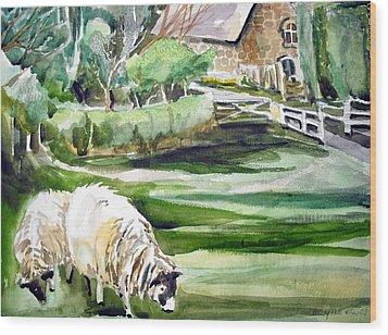 English Sheep Wood Print by Mindy Newman