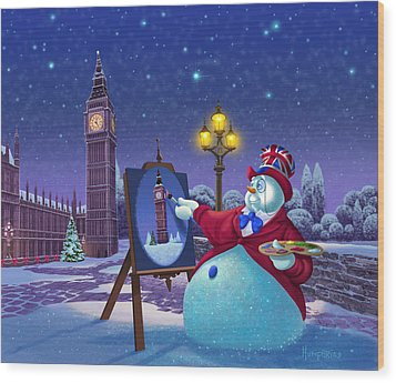 English Snowman Wood Print by Michael Humphries