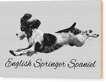 Wood Print featuring the digital art English Springer Spaniel by Ann Lauwers