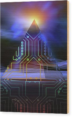 Wood Print featuring the digital art Enigma Of Ancient Technology by Shadowlea Is