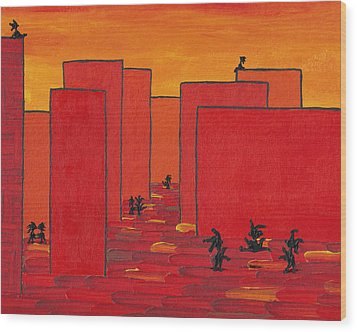 Enjoy Dancing In Red Town P2 Wood Print by Manuel Sueess