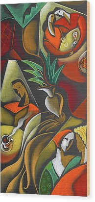 Wood Print featuring the painting Enjoying Food And Drink by Leon Zernitsky