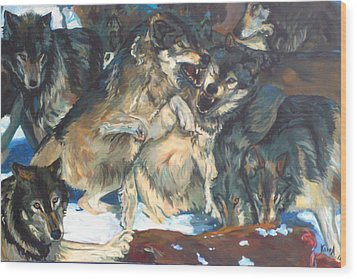 Wood Print featuring the painting Enjoying Their Prey by Koro Arandia