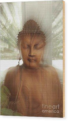 Enlightened Buddha Wood Print by Christine Amstutz