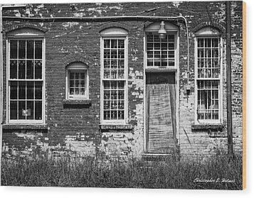 Wood Print featuring the photograph Enough Windows - Bw by Christopher Holmes