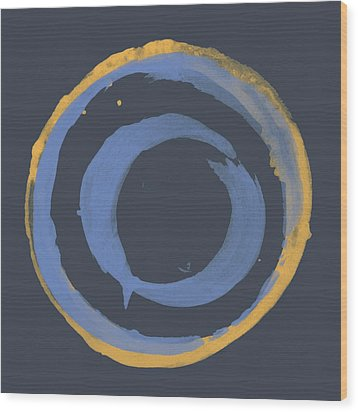 Wood Print featuring the painting Enso T Blue Orange by Julie Niemela