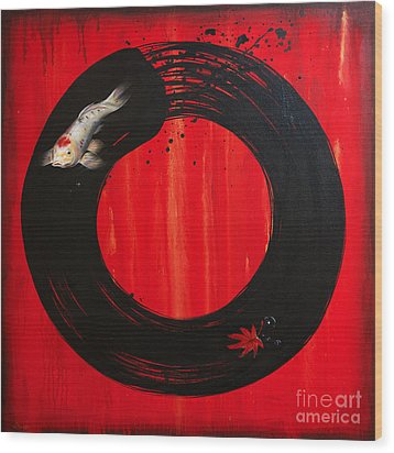 Enso With Koi Red And Gold Wood Print