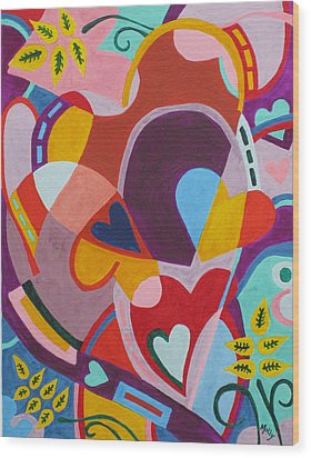 Entangled Hearts Wood Print by Molly Williams
