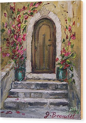 Wood Print featuring the painting Enter Here by Jennifer Beaudet