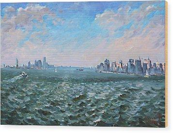 Entering In New York Harbor Wood Print by Ylli Haruni