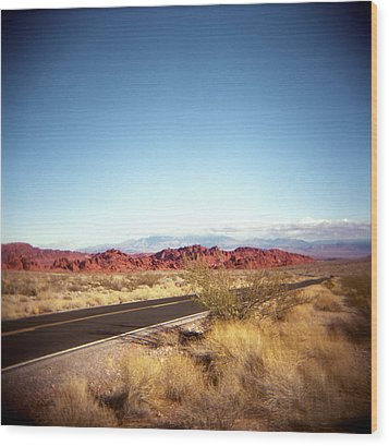 Entering The Valley Of Fire Wood Print by Lori Andrews