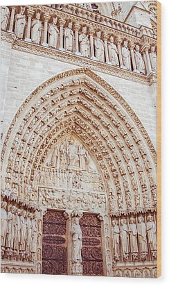 Entrance To Notre Dame Cathedral Wood Print