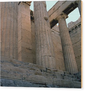 Entrance To Past Life   Acropolis Wood Print by Blima Efraim