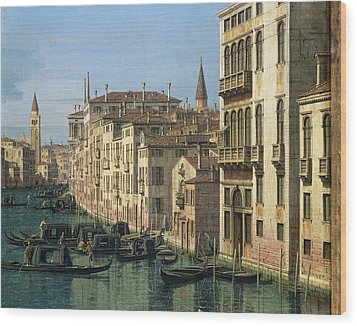 Entrance To The Grand Canal Looking West Wood Print by Canaletto