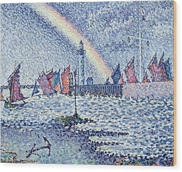 Entrance To The Port Of Honfleur Wood Print by Paul Signac