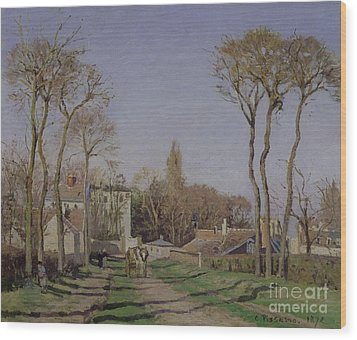 Entrance To The Village Of Voisins Wood Print by Camille Pissarro