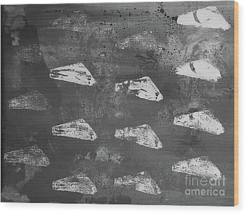 Wood Print featuring the painting Eoliths Grayscale by Robin Maria Pedrero
