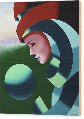 Eos - Abstract Mask Oil Painting With Sphere By Northern California Artist Mark Webster  Wood Print by Mark Webster