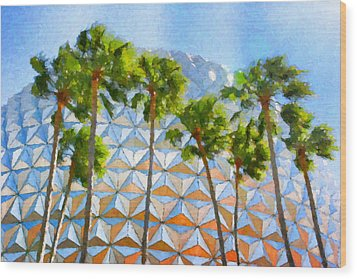 Epcot Palms Wood Print by Paul Bartoszek