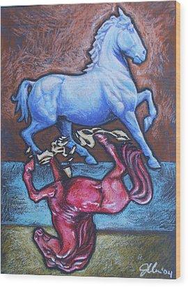 Equus Wood Print by Jennifer Bonset