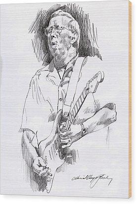 Eric Clapton Blue Wood Print by David Lloyd Glover