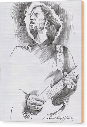 Eric Clapton Sustains Wood Print by David Lloyd Glover