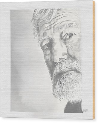 Wood Print featuring the drawing Ernest Hemingway by Antonio Romero