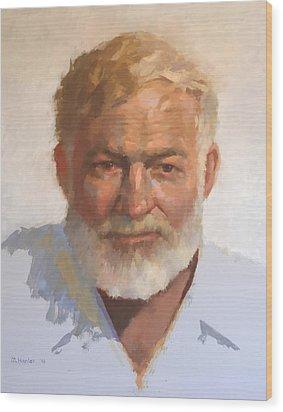 Ernest Hemingway Wood Print by Mike Hanlon