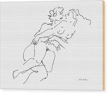 Erotic Art Drawings 13 Wood Print by Gordon Punt