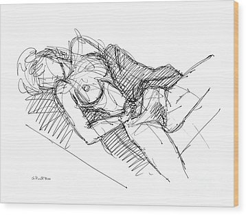 Wood Print featuring the drawing Erotic Art Drawings 7 by Gordon Punt
