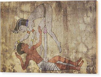 Erotic Drawing Looks Like Fresco Wood Print