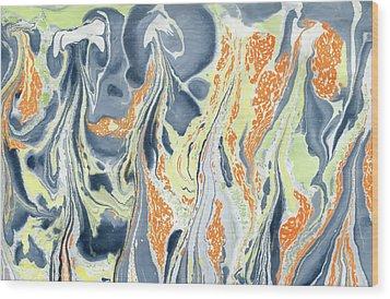 Wood Print featuring the painting Erupting Lava by Menega Sabidussi