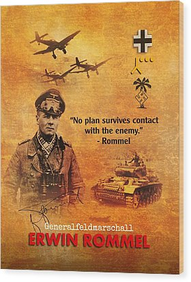 Wood Print featuring the digital art Erwin Rommel Tribute by John Wills