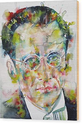 Wood Print featuring the painting Erwin Schrodinger - Watercolor Portrait by Fabrizio Cassetta