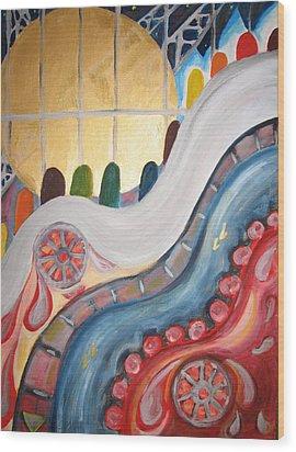 escalators at WTC NY Wood Print by Krisztina Asztalos