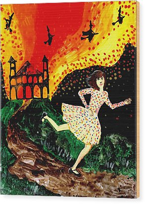 Escape From The Burning House Wood Print by Sushila Burgess