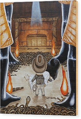 Wood Print featuring the painting Escape From The Well Of Souls by Al  Molina